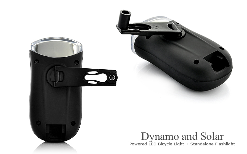 Chinese Dynamo and Solar Powered LED Bicycle Light + Standalone Flas
